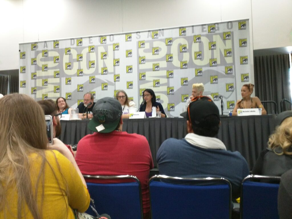 Marissa speaking as a panelist at San Diego Comic-Con